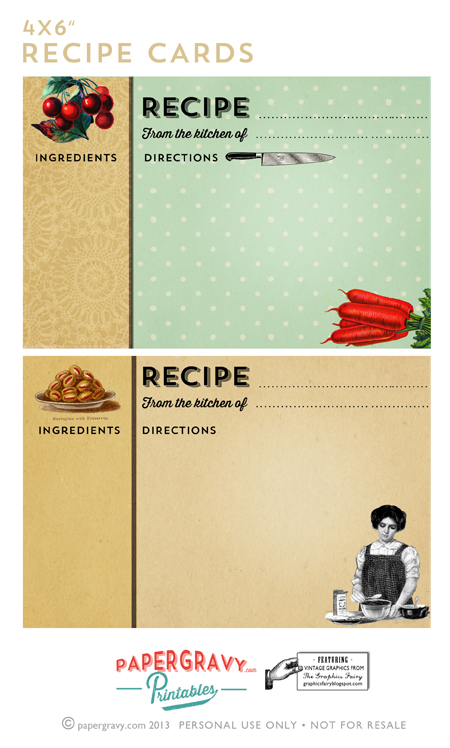 printable recipe cards vintage
