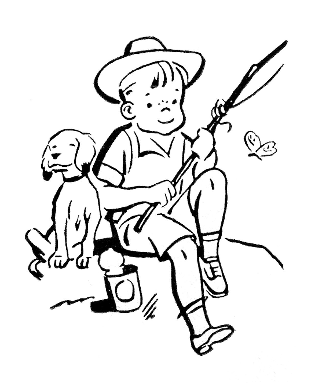 Retro images cute kids gardening fishing playing for Free line fishing