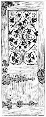 Stock Image  Antique Wood and Iron Door