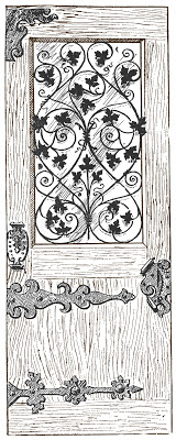 Stock Image - Antique Wood and Iron Door