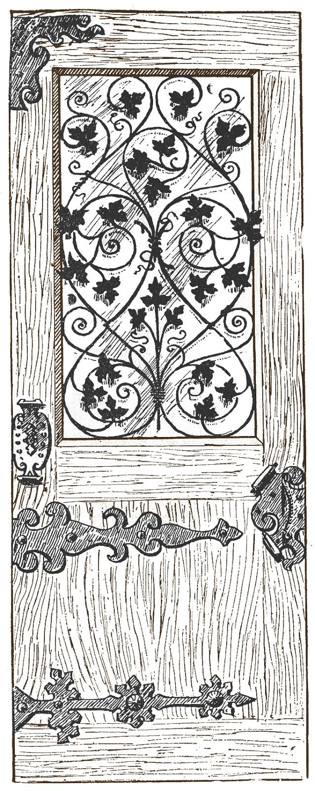 Old wooden door clipart - Stock Image Antique Wood And Iron Door