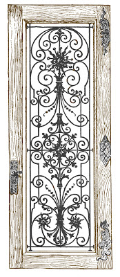 Stock Image - Fancy Iron and Wood Door