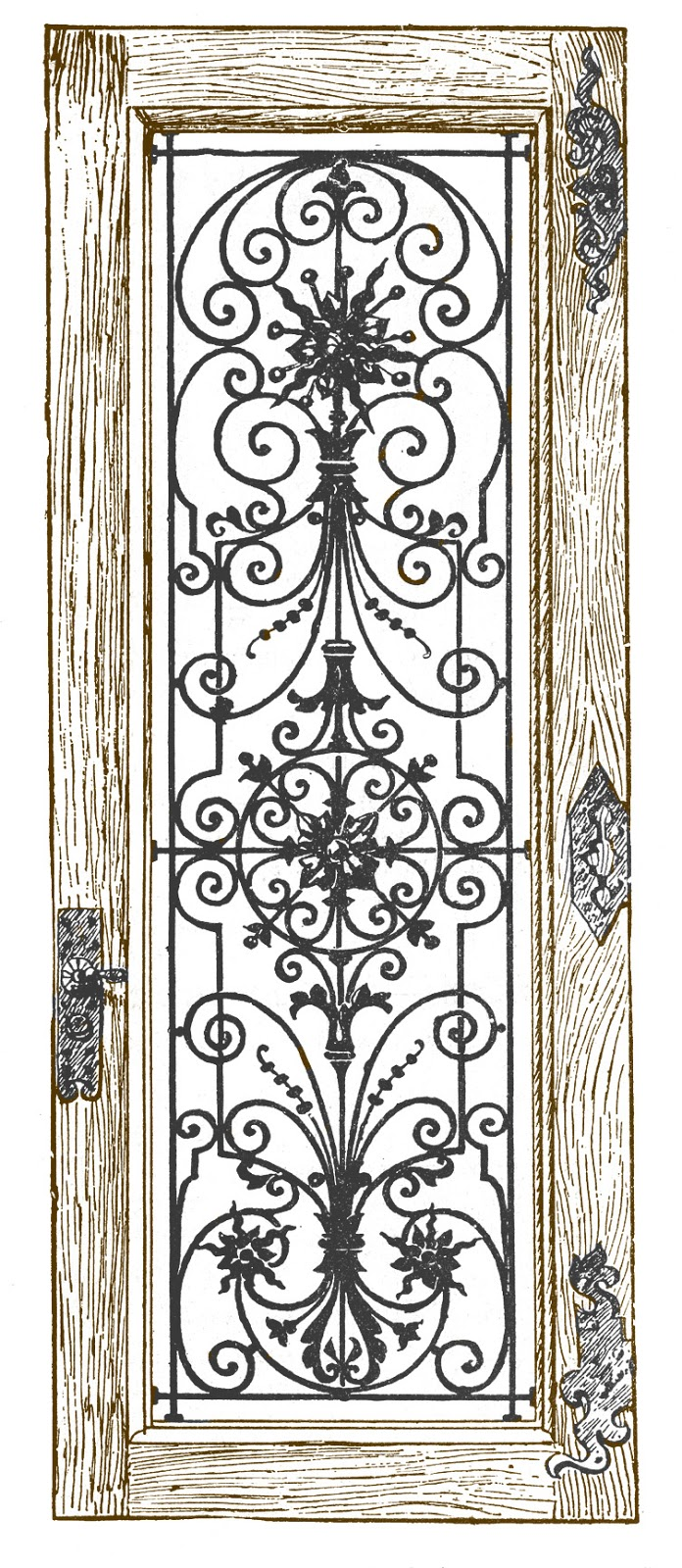 Stock Image Fancy Iron And Wood Door The Graphics Fairy