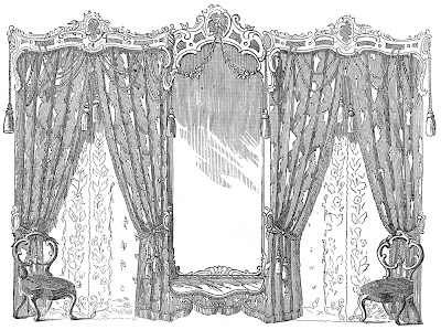 Vintage Image - Fancy Drapes and Chairs Godey's