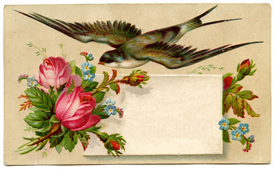 Vintage Image - Pretty Calling Card with Bird