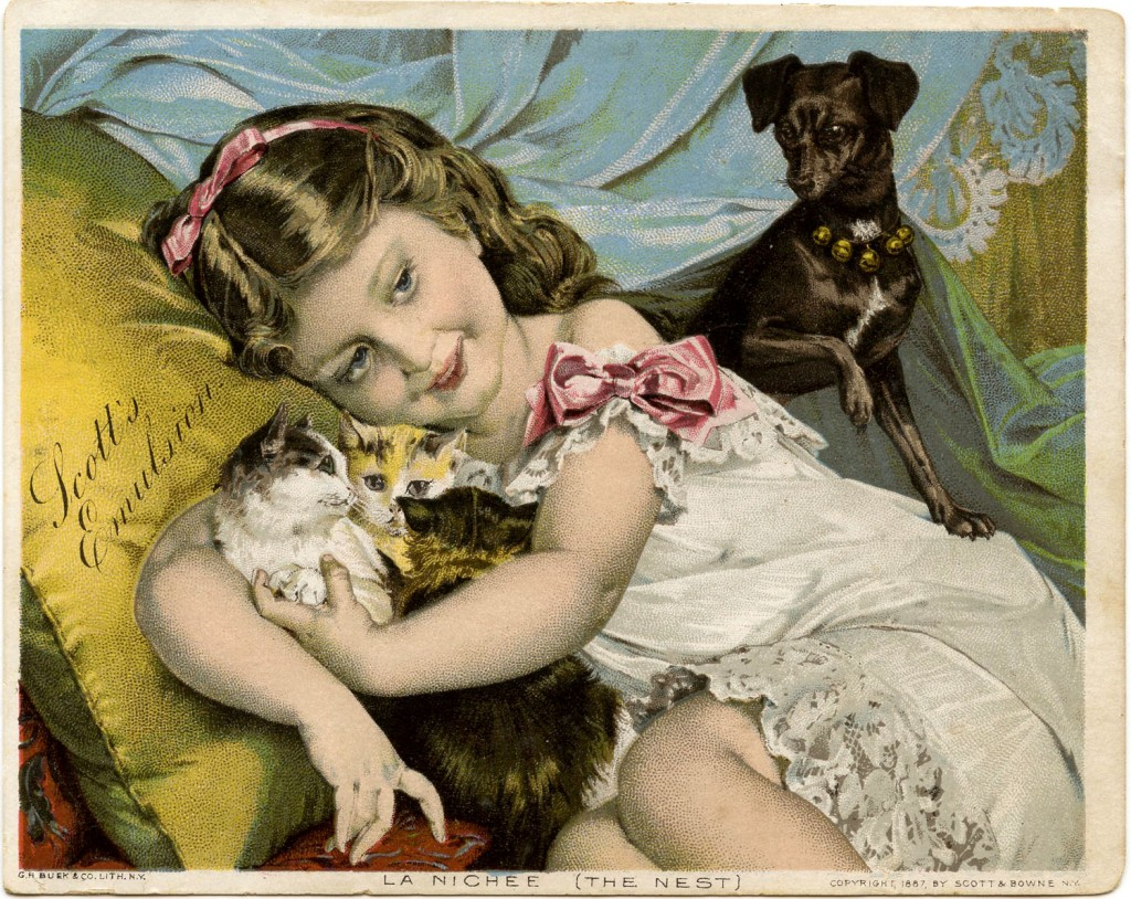 Vintage Image Cat Dog Girl