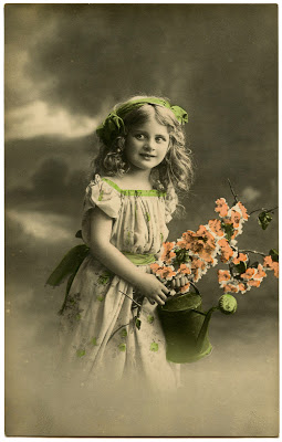 Old Photo - Pretty Little Garden Girl