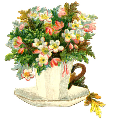 Vintage Teacup Image  Flowers  Mother's Day
