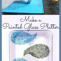 painted glass platter graphics fairy