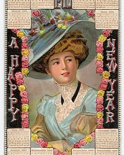 Free Vintage New Years Clip Art – 1910 Calendar Card