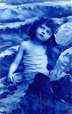 Gorgeous Vintage Photo – Blue Mermaid Girl