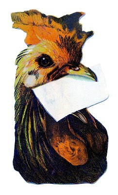 Vintage Clip Art – Cute Chicken with Mail