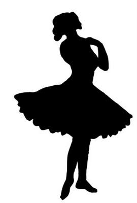 Vintage Clip Art – Pretty Ballerina Silhouette