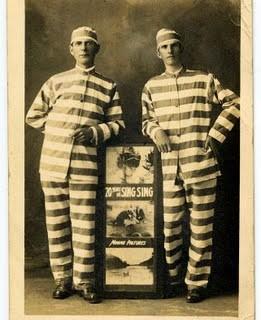 Free Vintage Clip Art – Men In Prisoner Costumes – Theater