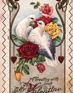 Pretty Vintage Valentine with Doves