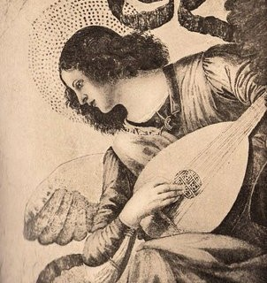 Antique Clip Art – Angel with Lute