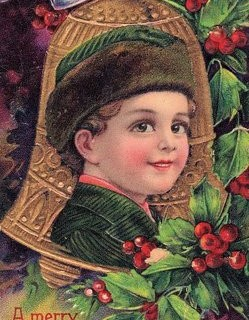 Victorian Postcard – Christmas Boy with Bell