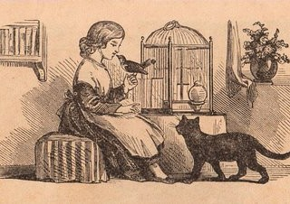 Victorian Graphic- Girl with Birdcage, Bird, Cat