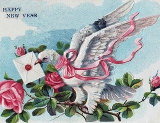 Happy New Year Clip Art – Dove with Roses
