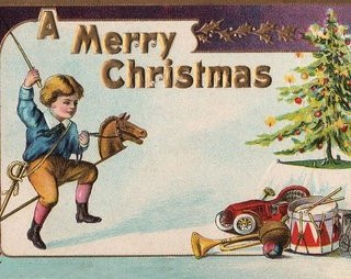 Victorian Christmas Card – Boy with Toys