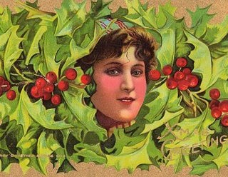 Victorian Christmas Clip Art – Lady with Holly