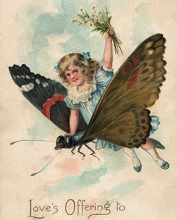 Free Vintage Clip Art – Girl with Butterfly
