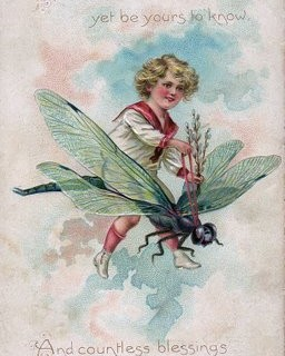 Free Vintage Clip Art – Boy Riding Dragonfly