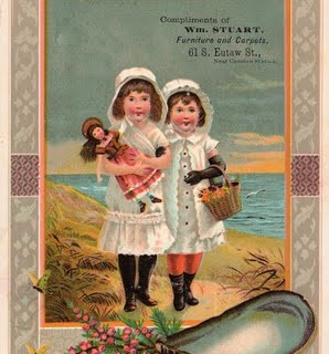 Old Advertising Card – Girls with Doll at the Beach