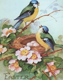 Free Vintage Clip Art – Darling Birds in Nest
