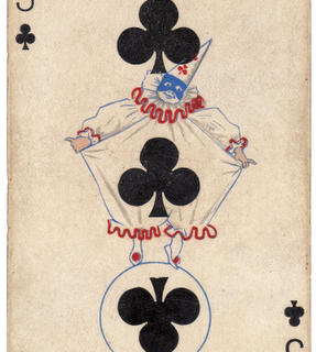 Free Vintage Clip Art – Clown Card – Pierrot