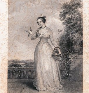 Free Vintage Clip Art – 1850s Lady with Doves