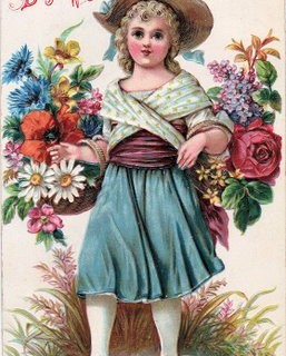 Free Vintage Clip Art – Charming Girl with Flowers