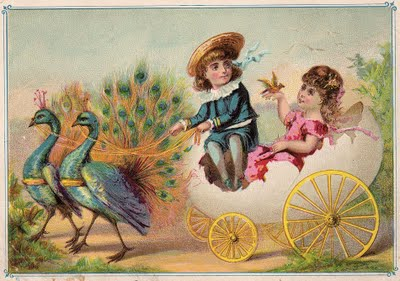 Free Victorian Graphic Children With Peacocks The