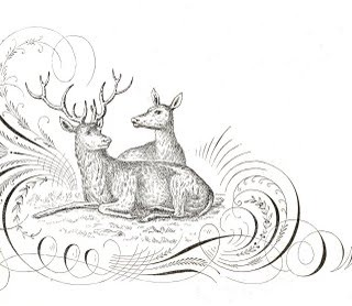Free Antique Clip Art – Pen Flourishing with Deer