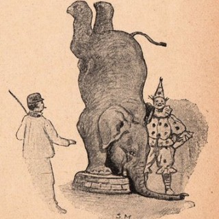 Vintage Clip Art – Circus Elephant and Clown