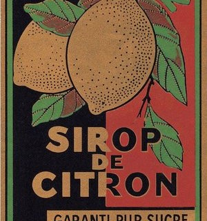 Vintage French Label with Lemons