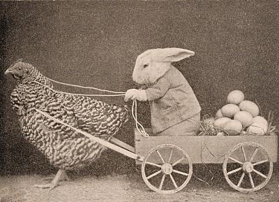 Vintage Clip Art - Funny Easter Bunny Delivering Eggs ...