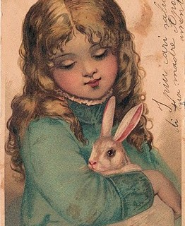 Precious Girl with Darling Bunny – Free Easter Clip Art