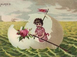 Free Vintage Clip Art – Child in Egg Boat