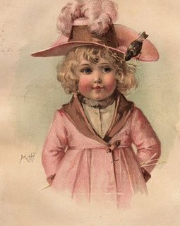 Lovely Victorian Clip Art – Girl with Pink Hat
