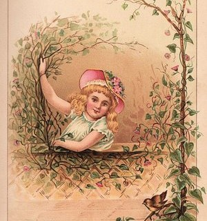 Victorian Graphic – Girl with Bird
