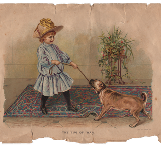 Free Vintage Clip Art – Girl with Dog – great Texture