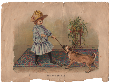 Free Vintage Clip Art - Girl with Dog - great Texture ...