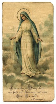 Free Vintage Clip Art - Mary Holy Card - The Graphics Fairy