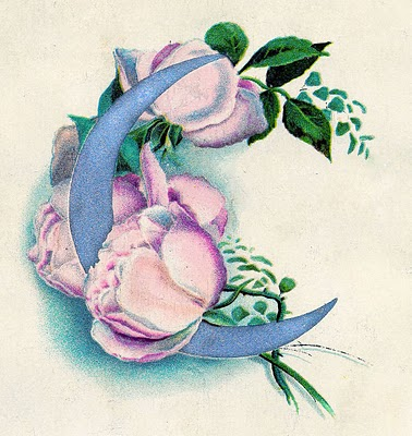 Vintage Clip Art – Pink Roses with Silvery Moon
