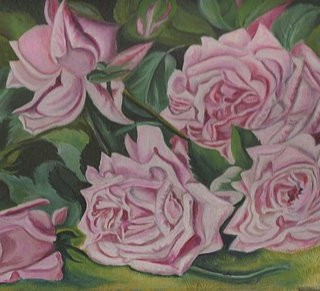 Victorian Cabbage Roses Oil Painting