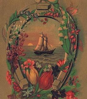 Old Advertising Card – Ship, Horseshoe, Flowers