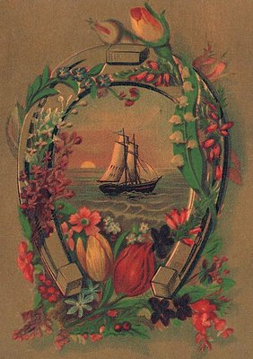 old advertising card ship horseshoe flowers the