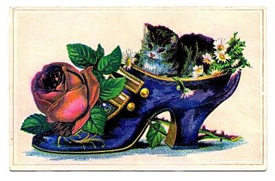 Vintage Clip Art Ladies Shoe With Cat The Graphics Fairy