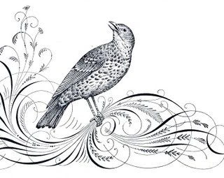 Free Antique Clip Art – Calligraphy Flourishes and Bird